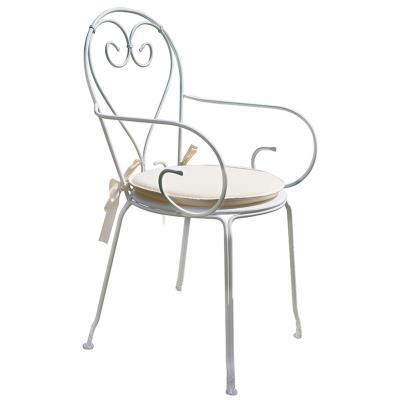 Chaise jardin en fer forgé coloris blanc - Dim : H 90 x L 51 x P 52 cm -PEGANE-