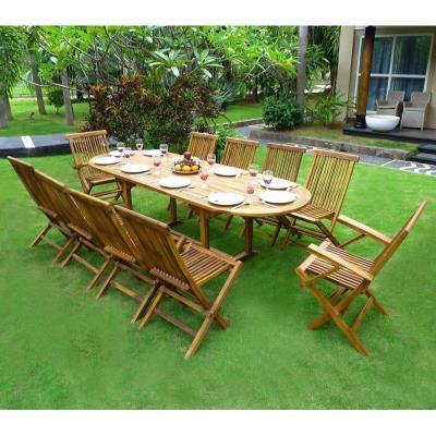 Salon de jardin en teck ensemble pour 10 personnes 8 chaises 2 fauteuils pliants