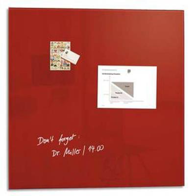 Tableau magnétique verre trempé sécurité rouge, livré avec aimants et fixation, Dim. 48x48x1,5 cm