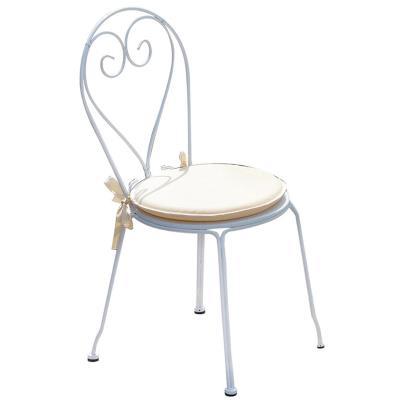 Chaise jardin en fer forgé coloris blanc - Dim : H 90 x L 42 x P 52 cm -PEGANE-
