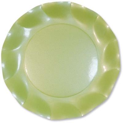 10 Grandes assiettes vert perlé Taille Unique