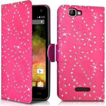 Étui Portefeuille style Diamant Couleur Rose Fushia pour Wiko Rainbow 4G