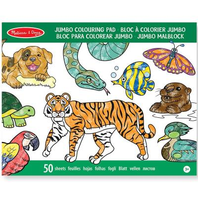 Bloc de coloriage Cahier grand format 50 pages imprimées Animaux Enfants 3 ans +
