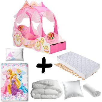 Pack complet Premium Lit Carrosse Princesse Disney = Lit+ ...