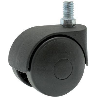 Guitel point M - Roulette Twiny noire à tige filetée pivotante 62 x Ø 50 mm - Portée 40 Kg