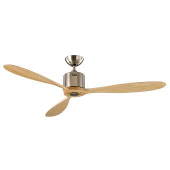 Ventilateur de plafond dc moderne 132 cm chrome bross pales bois massif t l commande - Ventilateur de plafond a telecommande ...