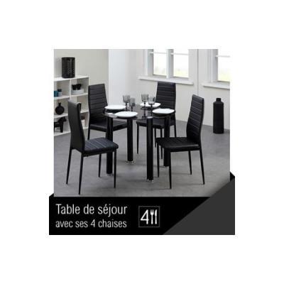 BERENICE Ensemble repas coloris noir 5 pieces 1 table a manger + 4 chaises