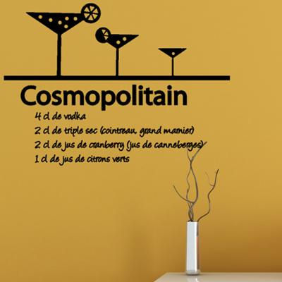 Pick and Stick Sticker Mural déco Recette du Cosmopolitain - 35 x 55 cm, Noir