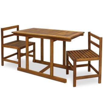 Ensemble 2 chaise 1 table salon de jardin en acacia design elegance ...