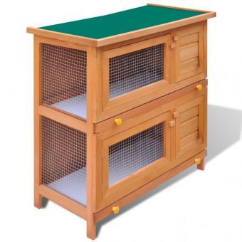 Cage Clapier Exterieur En Bois Pour Lapins 4 Portes Lapins Achat Prix Fnac