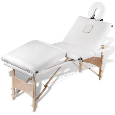 4 en Crème Massage vidaXL Zones Cadre Bois Pliante Table de WE9I2YDH