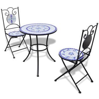vidaXL Set de bistro mosaïqué table 60 cm et 2 chaises bleu/blanc ...