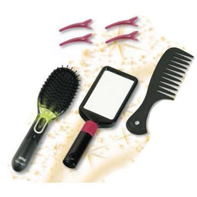 Klein - Brosse à cheveux et miroir - Braun : Satin Hair