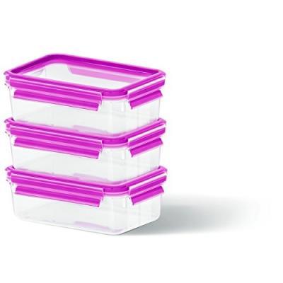Emsa boîte de 3 pièces (framboise &clip close lanami set-boite fraicheur conservation-produit neuf vendu dans son emballage orig