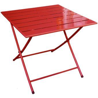 Table pliante de jardin en fer coloris rouge - Dim : H 71 x L 80 x P ...