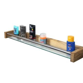 Tablette de salle de bain en teck, verre et métal - 80 cm ...