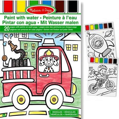 Kit 20 dessins Peinture à l'eau sur la page + Pinceau Véhicules Enfants 3 ans +