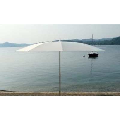 Parasol Rond centré coloris blanc, H 2.50/2.90m x 350 /10 baleines -PEGANE-