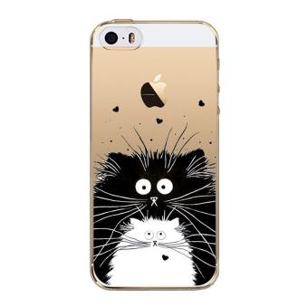 Coque Iphone 5 5S SE Chat Coeur Love Cat Moustache Noir