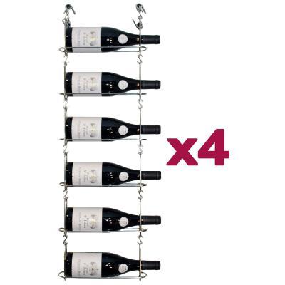 CHAIN MY WINE - Lot de 4 supports muraux de 6 bouteilles - ACI-CMW100x4