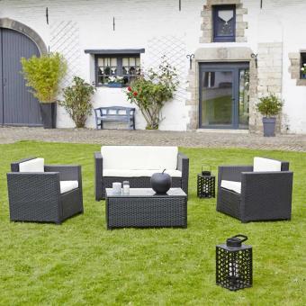 Salon de jardin en résine tressée Noir - GardenAndCo - Canapé + 2 ...