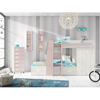 lit superpos pour enfant coloris ch ne clair rose l2734 x h1505 x p1167 mm pegane lit pour. Black Bedroom Furniture Sets. Home Design Ideas