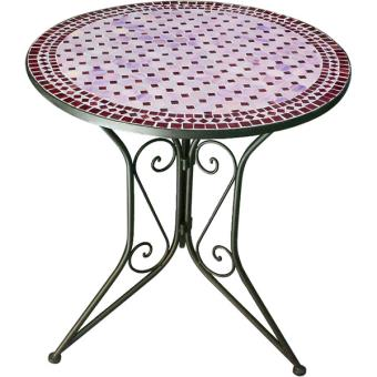 Table fer forgé mosaïque rouge Nmp TABLE ROUGE - Mobilier de Jardin ...