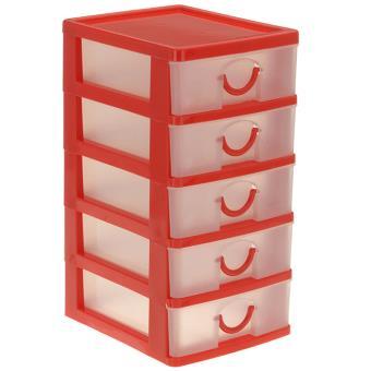 bloc coffret tour boite de rangement 5 tiroirs plastique rouge achat prix fnac. Black Bedroom Furniture Sets. Home Design Ideas