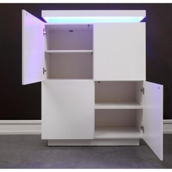 Flash Buffet Haut Avec Led Contemporain Blanc Laque Brillant L 96