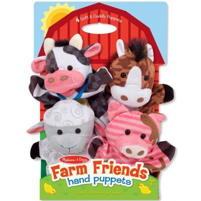 4 Marionnettes à main Animaux ferme velour jouet pour enfants à partir de 2 ans