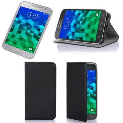 Etui luxe Samsung Galaxy Core Prime SM-G360/SM-G360F 4G noir Ultra Slim Cuir Style avec stand - Housse coque de protection Samsung Galaxy Core Prime ...