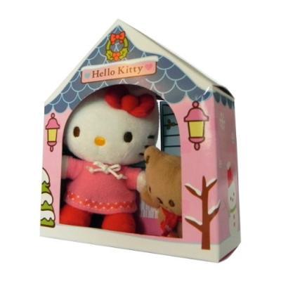 Peluche Hello Kitty avec son nounours dans une maison