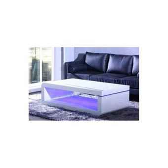Biwan Table Basse Avec Eclairage Led 140cm Blanc Laque Achat