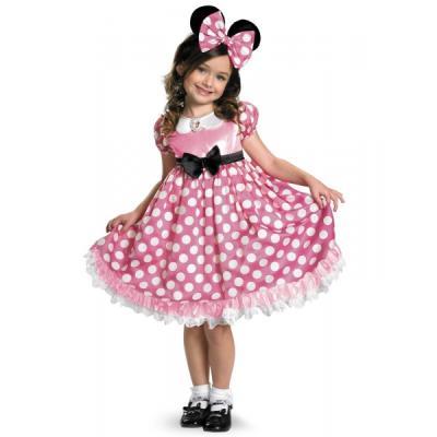 Costume de Minnie Mouse Clubhouse rose brillante dans le noir pour fille - 4-6 ans