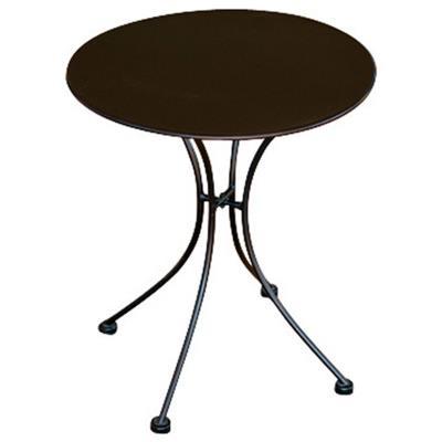 Table rond de jardin en fer forgé coloris noir - Dim : H 72 x L 60 x Ø 60 cm -PEGANE-