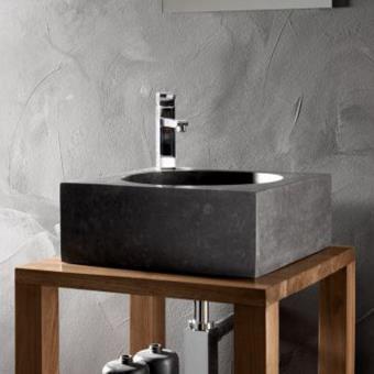 Vasque à Poser Carrée Pierre Noire 40 X 40 Cm Focus