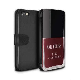 Stuff4 Coque Etui Housse Cuir PU Case Cover Pour Apple IPhone 5 5S Rouge Design Vernis A Ongle Maquillage Collection