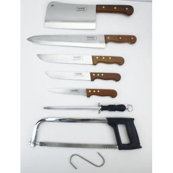 pradel excellence k31128 valise de 7 pi ces 4 couteaux boucher 1 fusil 1 scie 1 grand. Black Bedroom Furniture Sets. Home Design Ideas