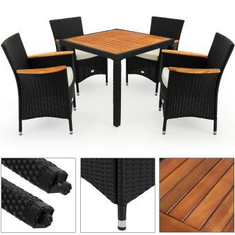 Salon de jardin - Ensemble table et 4 chaises Polyrotin Bois d ...
