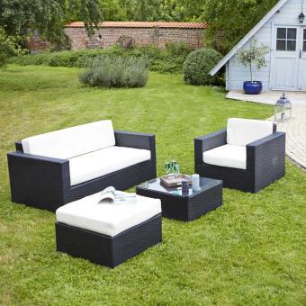Salon de jardin en résine tressée Noir 5 places - GardenAndCo ...
