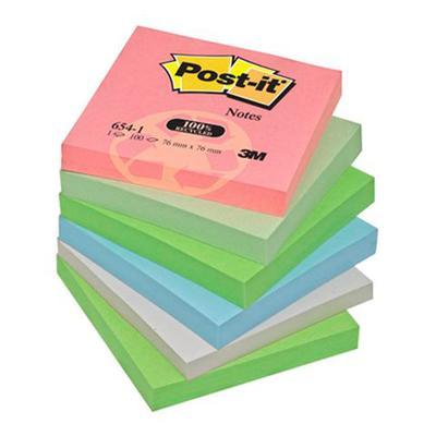 Post-it - Bloc de 100 feuilles 76x76mm papier recyclé Coloris assortis - Lot de 12 blocs