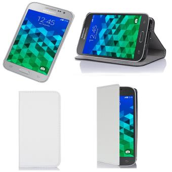 Etui luxe Samsung Galaxy Core Prime SM-G360/SM-G360F 4G blanc Ultra Slim Cuir Style avec stand - Housse coque de protection Samsung Galaxy Core Prime ...