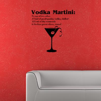 Pick and Stick Sticker Mural déco Martini - 55 X 55 cm, Noir