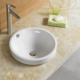 Vasque Semi Encastrable Ronde, 46x46 cm, Céramique, Rani ...