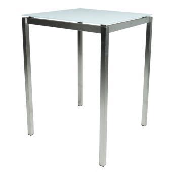 Table haute carrée de jardin inox / verre 80x80 cm, cilaos ...
