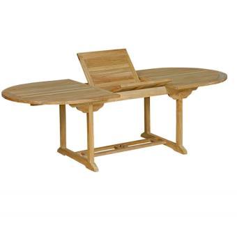 Table rallonge de en bruttable jardin teck à ovale LA5cS34Rjq