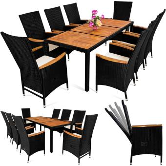 Salon de jardin 17pcs - Ensemble table & 8 chaises Alu Polyrotin ...