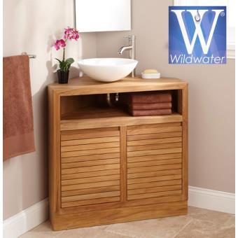 Meuble d 39 angle sous vasque en teck 85 cm cube - Meuble salle de bain teck castorama ...