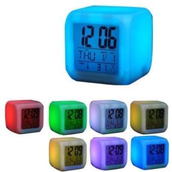 Réveil Cube Lumineux Veilleuse 7 Couleurs Changeantes