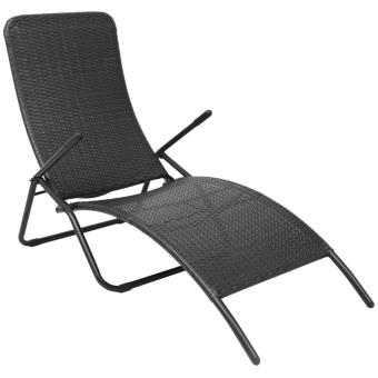 vidaXL Chaise longue pliable en rotin synthétique noire - Mobilier on chaise recliner chair, chaise furniture, chaise sofa sleeper,